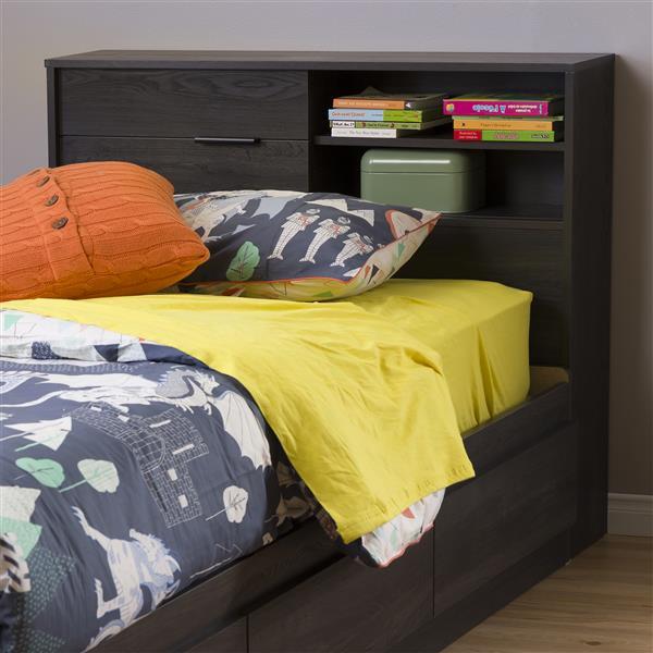 Tête de lit avec rangement Fynn, simple, chêne gris