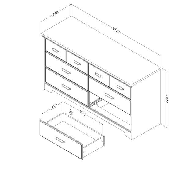 Bureau double 6 tiroirs Versa, chêne vieilli