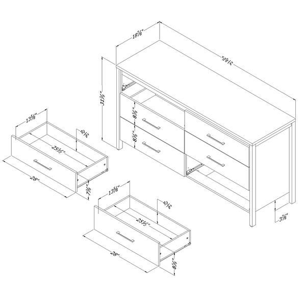 Bureau double 6 tiroirs Gravity, érable cendré