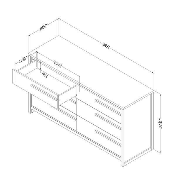 Bureau double 6 tiroirs Tao, chêne gris
