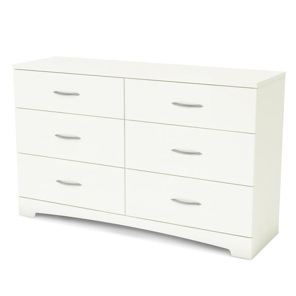 Bureau double 6 tiroirs Step One, blanc