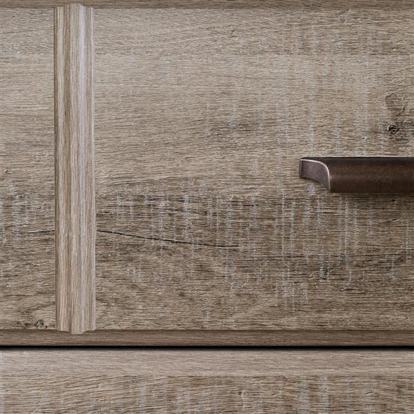 Bureau double 8 tiroirs Versa, chêne vieilli