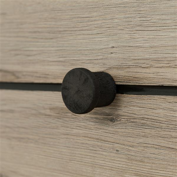 Bureau double 4 tiroirs Morice, ébène et chêne rustique