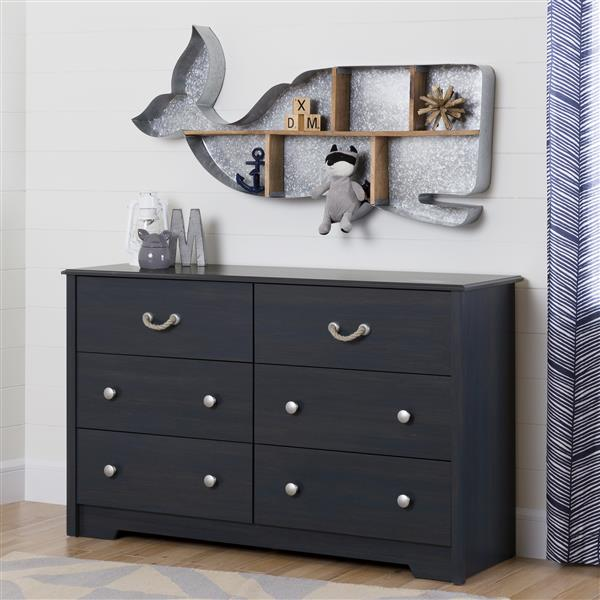 South Shore Furniture Aviron 6-Drawer Double Dresser - Blueberry
