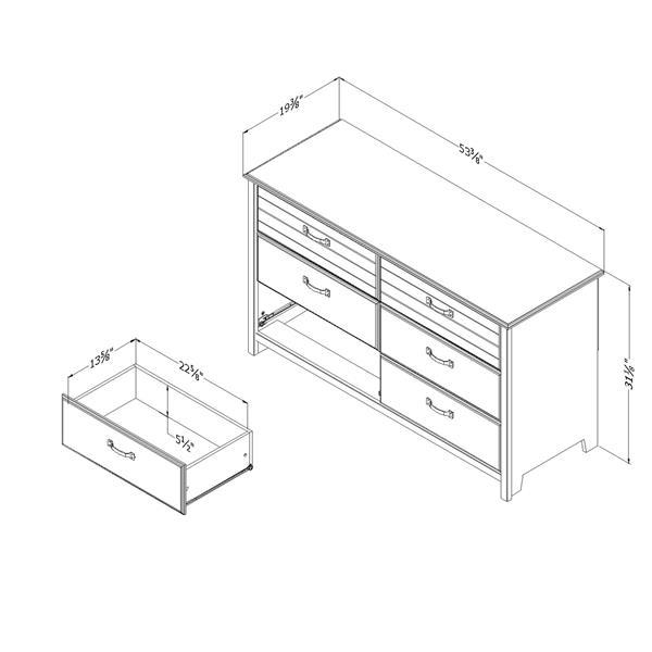 Bureau double 6 tiroirs Ulysses, myrtille