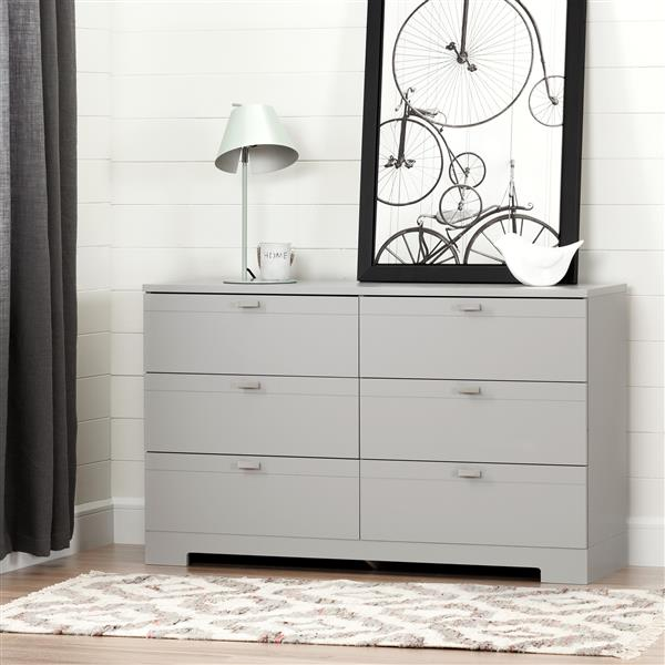 South Shore Furniture Reevo 6-Drawer Double Dresser - Soft Gray