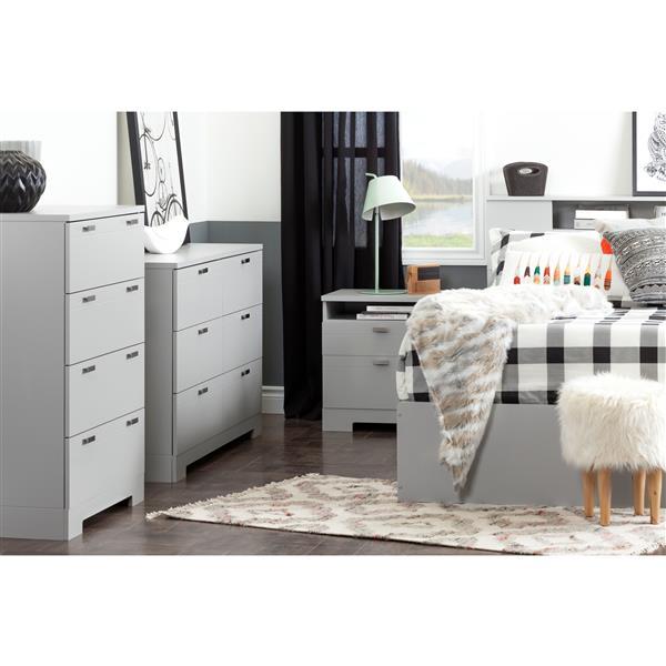 Bureau double 6 tiroirs Reevo, gris clair
