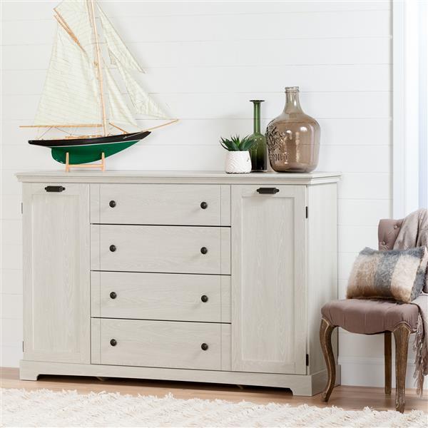 Bureau 4 tiroirs avec portes Avilla, chêne hivernal