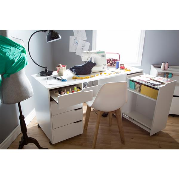 Table de couture sur roulettes Crea, blanc