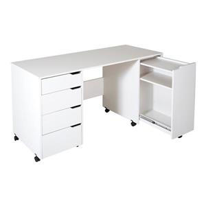 South Shore Furniture Crea Wheeled Craft Table - 58.12-in x 23.62-in x 29.62-in - White
