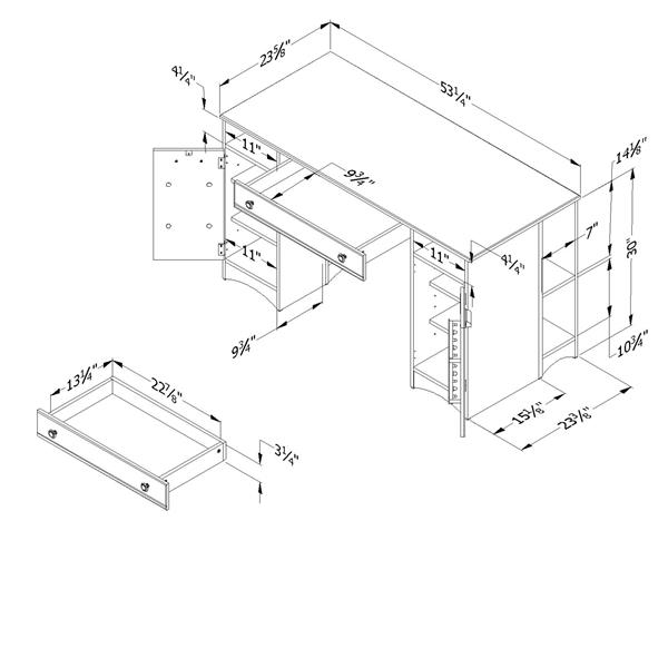 Table de travail avec rangement Artwork, blanc