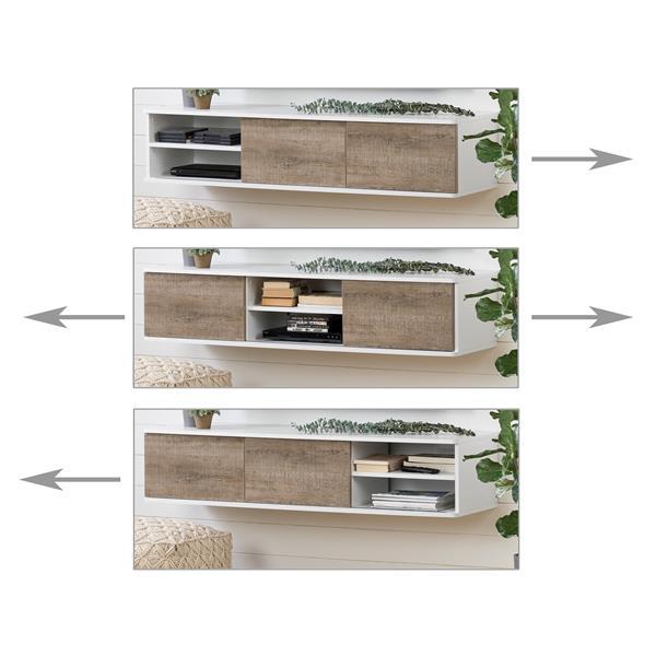 "Console média murale Agora, 57"" x 17,75"" x 11,5"", blanc"