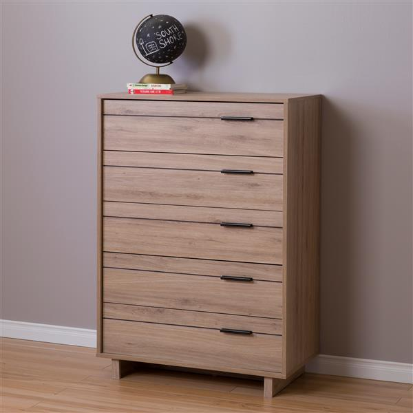 South Shore Furniture Fynn 5-Drawer Chest - 32.88-in x 18.25-in x 48.75-in - Rustic Oak