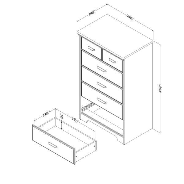 "Commode 5 tiroirs Versa, 29,75"" x 19,50"" x 49,25"", érable"
