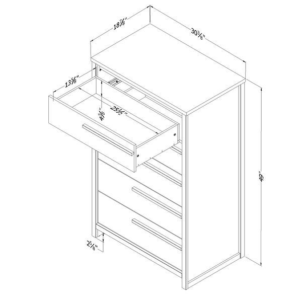 """Commode 5 tiroirs Tao, 30,5"""" x 19"""" x 49"""", chêne gris"""