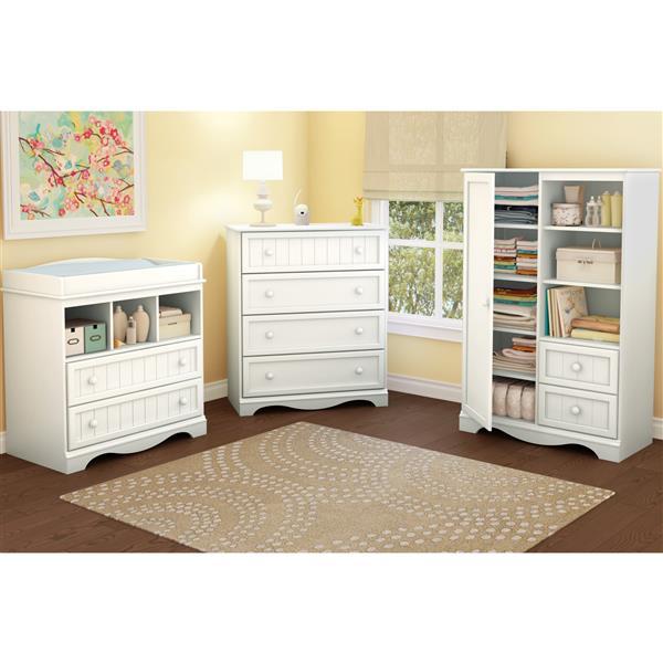 "Commode 4 tiroirs Savannah, 33"" x 18,75"" x 40"", blanc"