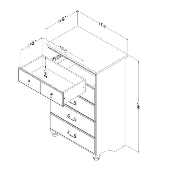 "Commode 5 tiroirs Noble, 31,13"" x 19,38"" x 49"", acajou foncé"