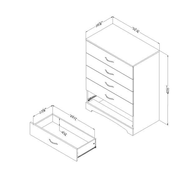 "Commode 5 tiroirs Step One, 33"" x 19"" x 42,5"", blanc"