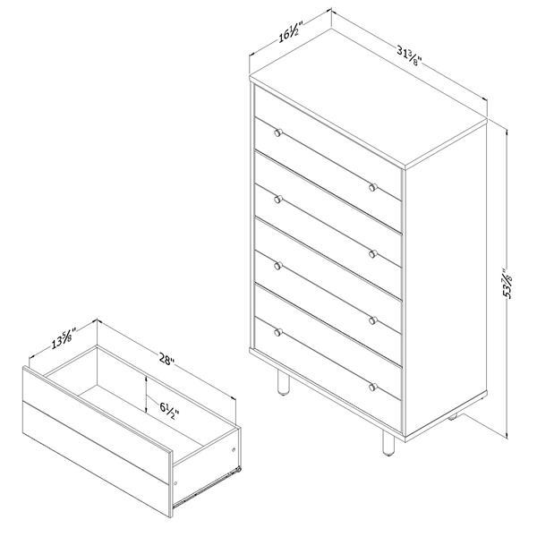 """Commode 4 tiroirs Morice, 31,5""""x16,5""""x54"""", ébène et chêne"""