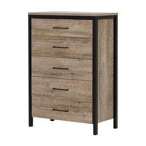 South Shore Furniture Munich 5-Drawer Chest - 31.25-in x 19-in x 49-in - Oak and Black