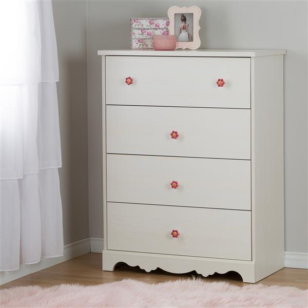"Commode 4 tiroirs Lily Rose, 29,75"" x 19,0"" x 40,25"", blanc"