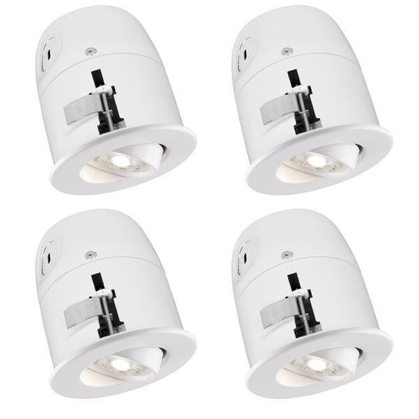 """Luminaire encastré DEL avec ampoule, blanc, 4"""", pqt de 4"""
