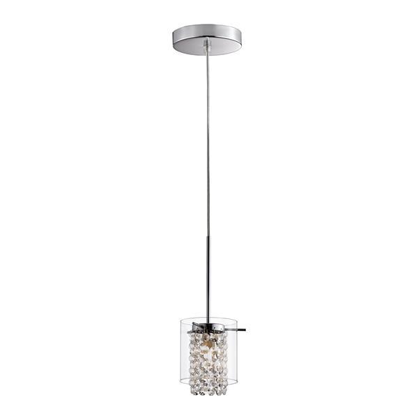 Luminaire suspendu simple avec abat-jour rond en verre clair, 2 mcx