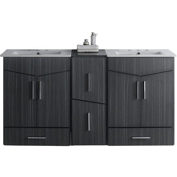 "American Imaginations Zen Vanity Set  - Double Sink - 61.5"" - Gray"