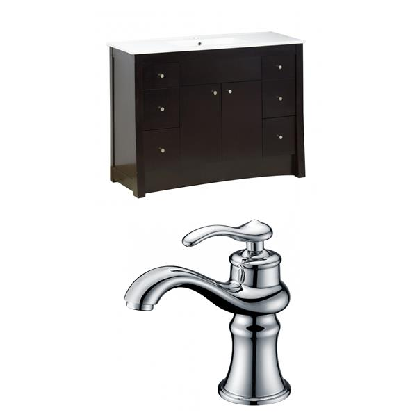 """American Imaginations Elite Vanity Set  - Single Sink - 48"""" - Brown"""
