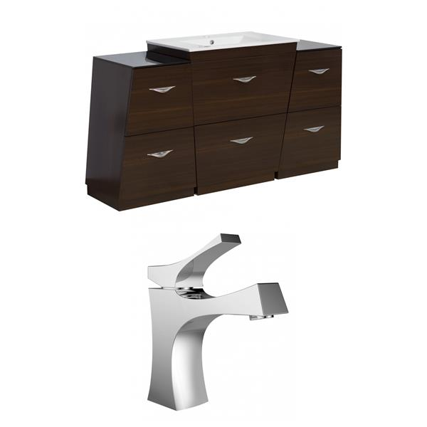 """American Imaginations Vee Vanity Set  - Single Sink - 56"""" - Brown"""