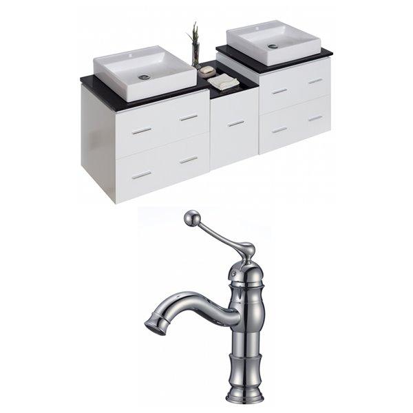 "American Imaginations Xena Vanity Set  - Double Sink - 62"" - White"