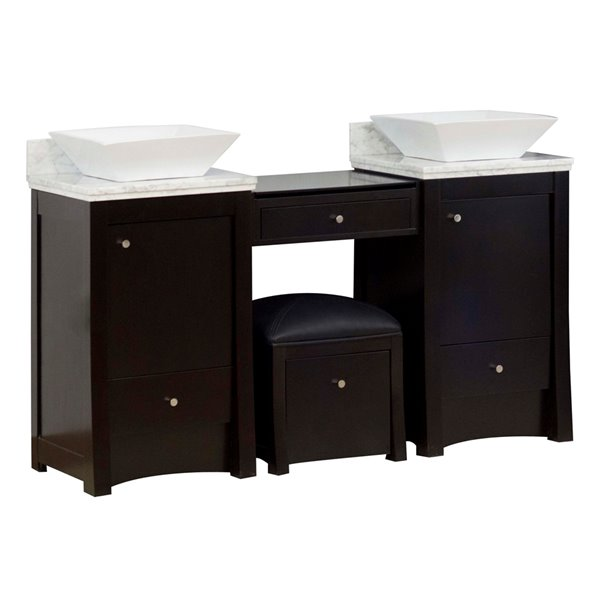 "American Imaginations Elite Vanity Set  - Double Sink - 60.75"" - Brown"
