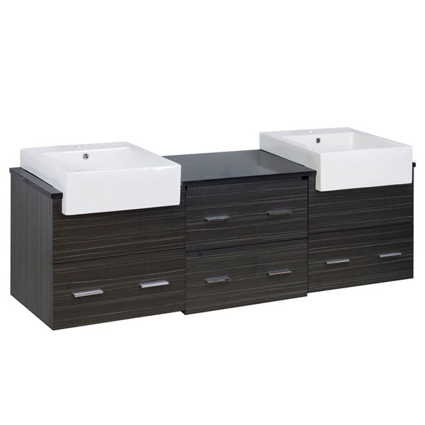 "American Imaginations Xena Farmhouse Vanity Set  - Double Sink - 73.5"" - Gray"