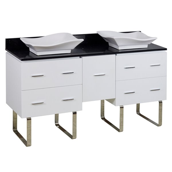 "American Imaginations Xena Quartz Vanity Set  - Double Sink - 60"" - White"
