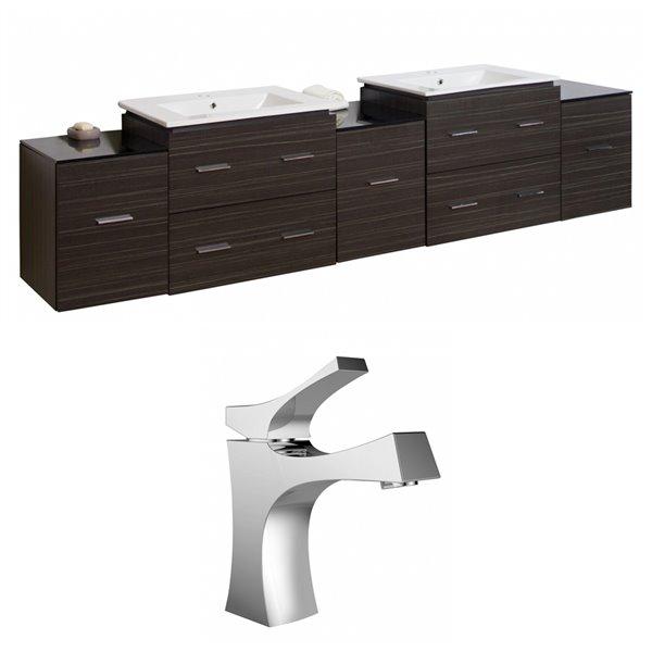 "American Imaginations Xena Vanity Set  - Double Sink - 89.5"" - Gray"