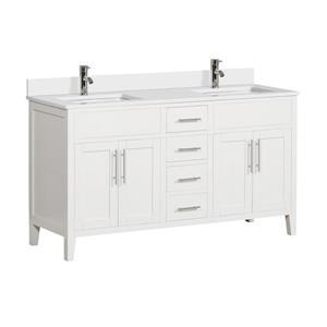 Meuble-lavabo avec comptoir en quartz Linden, 61