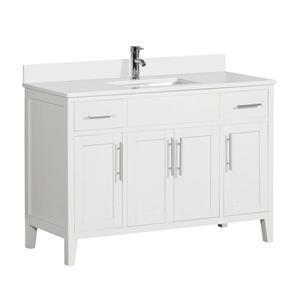 Meuble-lavabo avec comptoir en quartz Linden, 49