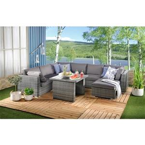 8 Piece Outdoor Modular Set - Grey PVC Wicker