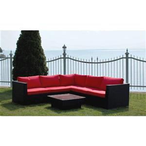 Henryka 6 Piece Outdoor Sofa Set With Black & Red Cushions