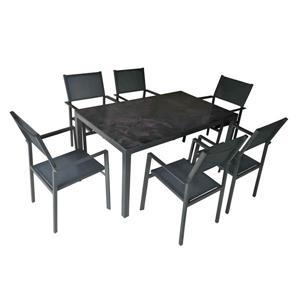 Ensemble à diner pour le patio Henryka, 7 morceaux, Gris