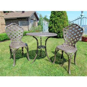 Henryka Outdoor Bistro Set - 3 Piece - Coffee