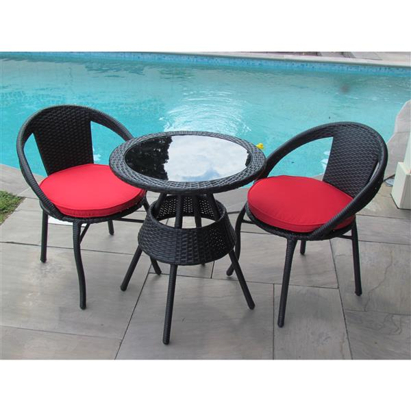 Henryka Outdoor Bistro Set - 3 Piece - Black
