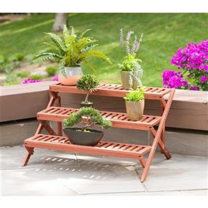 Support pour plante en bois, trois niveaux,  35 x 23 x 20''