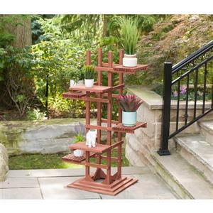6-Tier Wooden Pedestal Plant Stand