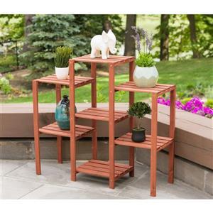 Support en bois pour plante à 7 niveaux, 38 x 12 x 34''
