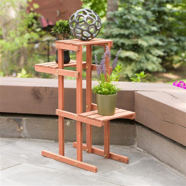 """Support en bois pour plante à 3 niveaux, 30'' x 12"""" x 24''"""