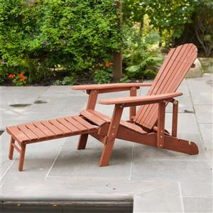 Leisure Season Reclining Adirondack Chair With Pull-Out Ottoman