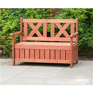Leisure Season Wooden Storage and Seating Bench