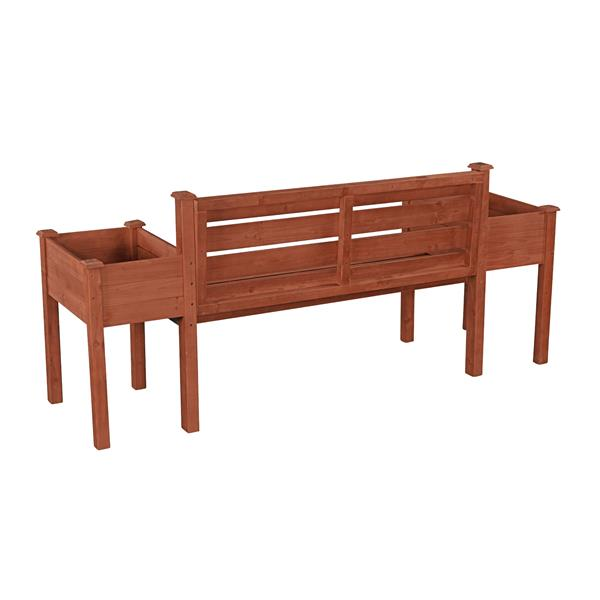 Wooden Bench with Planters - 79'' x 20'' x 38''