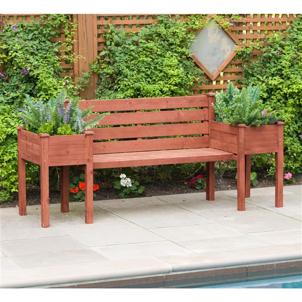 Leisure Season Wooden Bench with Planters - 79'' x 20'' x 38 ... on